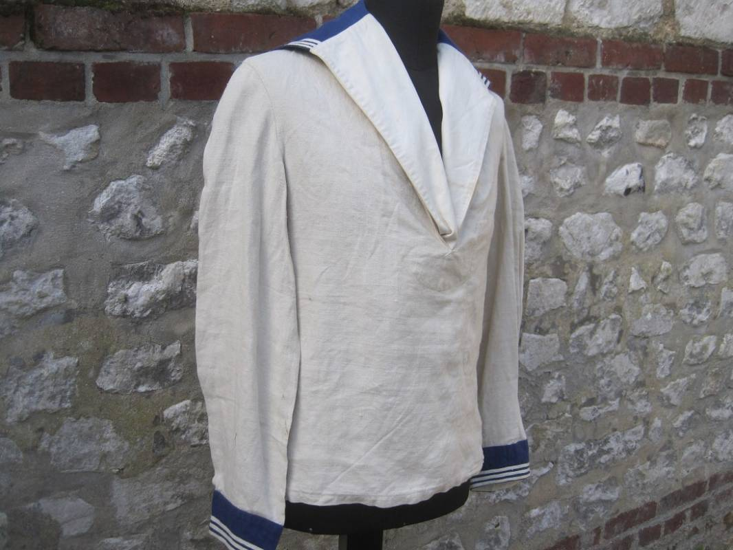 Ventes blanche Chemise d 1931 Marine et col grand Nationale nvHWBO0