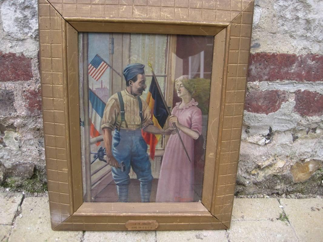 Tableau Peinture Sur Carton Scène Patriotique 1917 Ventes D